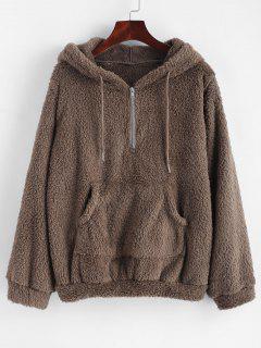 Half Zip Kangaroo Pocket Fluffy Hoodie - Dark Khaki M