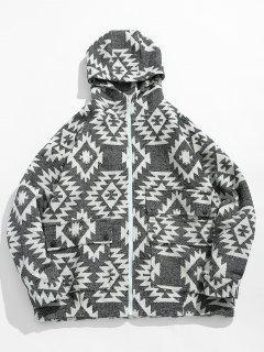Geometrical Pattern Zip Up Hooded Jacket - White 2xl