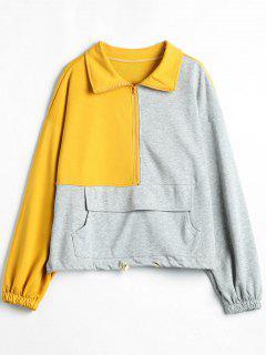Sweatshirt Avant Couleur Bloqué - Jaune Clair