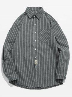 Striped Printed Button Fly Shirt - Battleship Gray Xl