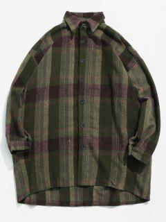 Woolen Plaid Pattern Warmth Shirt - Army Green L