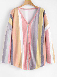 Camiseta Con Cuello De Pico Con Botones En La Parte Superior - Multicolor S