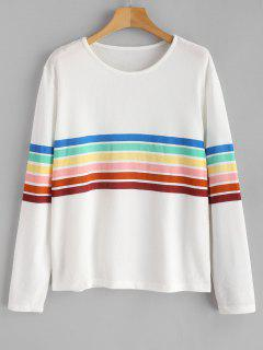 Camiseta Con Manga Larga A Rayas De Arcoíris - Blanco L