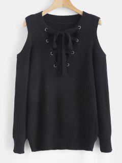 Lace Up Cold Shoulder Jumper Sweater - Black