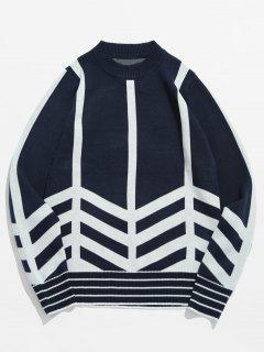 Striped Pullover Sweater - Dark Slate Blue Xs