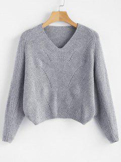 V Neck Batwing Sleeve Crop Sweater - Gray