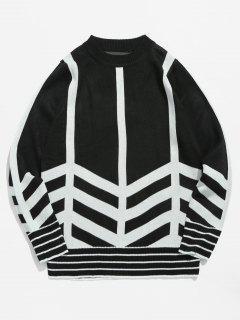 Suéter De Jersey A Rayas - Negro M