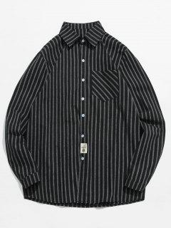 Striped Printed Button Fly Shirt - Black L