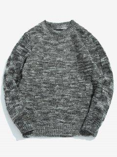 Assorted Colors Round Neck Pullover Sweater - Black M