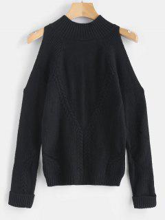Mock Neck Cold Shoulder Jumper Sweater - Black