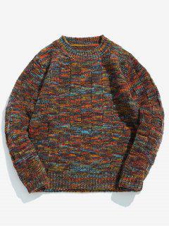 Suéter De Cuello Redondo De Colores Surtidos - Castaña Xl