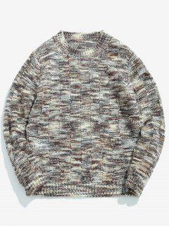 Assorted Colors Round Neck Pullover Sweater - Gray Goose M