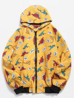 Cartoon Dinosaur Pattern Zippered Hooded Jacket - Bright Yellow L