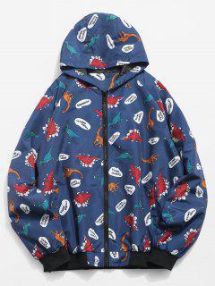 Cartoon Dinosaur Pattern Zippered Hooded Jacket - Midnight Blue L