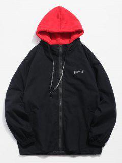 Giraffe Pattern Hooded Jacket - Black Xl
