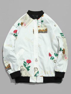 Zip Fly Rose Letter Printed Jacket - White L