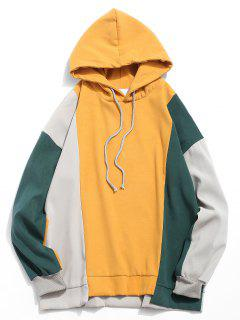 High Low Hem Color Block Hoodie - Bee Yellow Xl