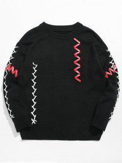 PU Belt Embellished Pullover Sweater - Black 2xl