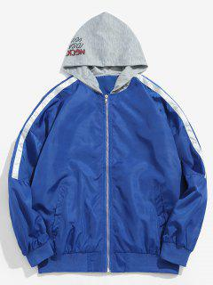 Veste à Capuche à Motif Graphique Zippé - Bleu Océan L
