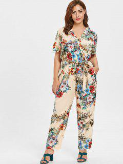 ZAFUL Plus Size Plunge Flowers Jumpsuit - Beige 2x