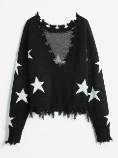 ZAFUL Cropped Frayed Stars Sweater - Black