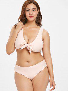 ZAFUL Plus Size Tie Front Bikini Set - Pig Pink 2x