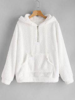 Half Zip Kangaroo Pocket Fluffy Hoodie - White M