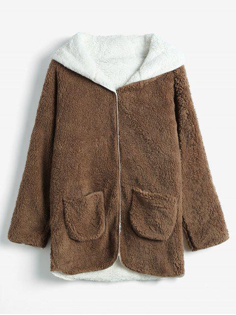 Manteau à Capuche en Fausse Laine - Brun XL Mobile