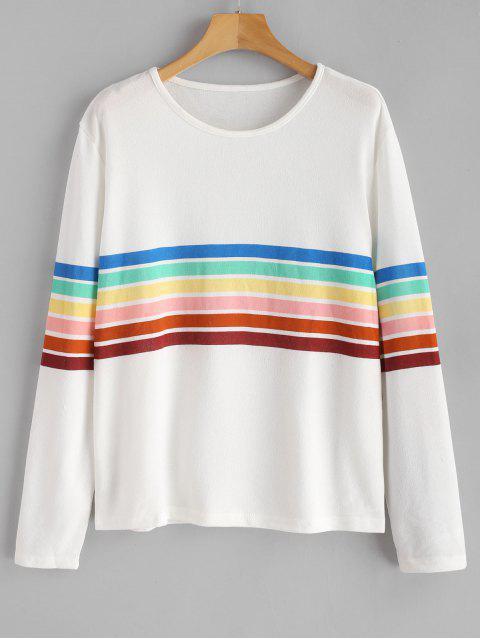 women Rainbow Striped Long Sleeves Tee - WHITE L Mobile