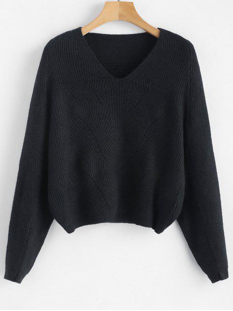 V-Ausschnitt Batwing Ärmel Crop Sweater - Schwarz Eine Größe Mobile