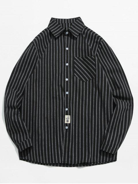 Gestreiftes, bedrucktes Button Fly Shirt - Schwarz 2XL Mobile