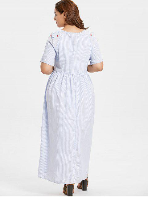 sale ZAFUL Plus Size Floral Embroidered Striped Maxi Dress - LIGHT BLUE 2X Mobile