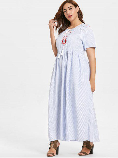 shop ZAFUL Plus Size Floral Embroidered Striped Maxi Dress - LIGHT BLUE 4X Mobile
