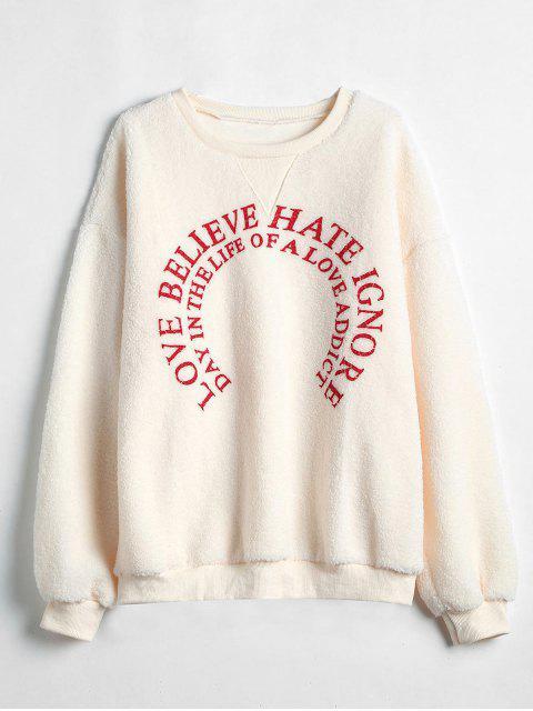 hot Graphic Faux Shearling Sweatshirt - APRICOT L Mobile