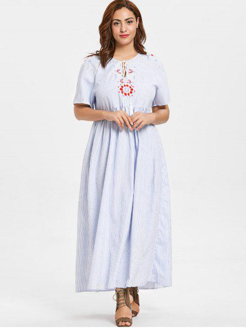 fashion ZAFUL Plus Size Floral Embroidered Striped Maxi Dress - LIGHT BLUE 3X Mobile