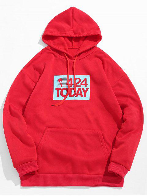shops Letters Printed Kangaroo Pocket Hoodie - LAVA RED M Mobile