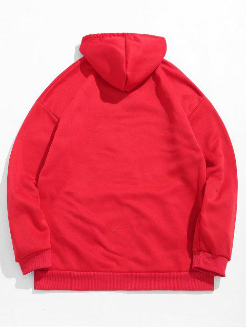 outfit Letters Printed Kangaroo Pocket Hoodie - LAVA RED 2XL Mobile