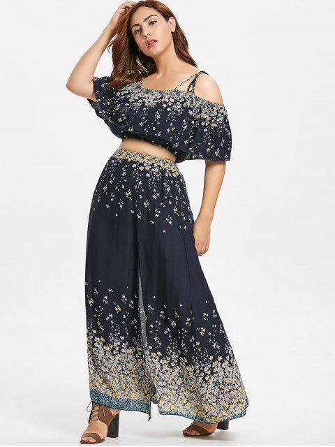 fashion ZAFUL Floral Plus Size Blouse and Slit Skirt Set - BLACK 2X Mobile