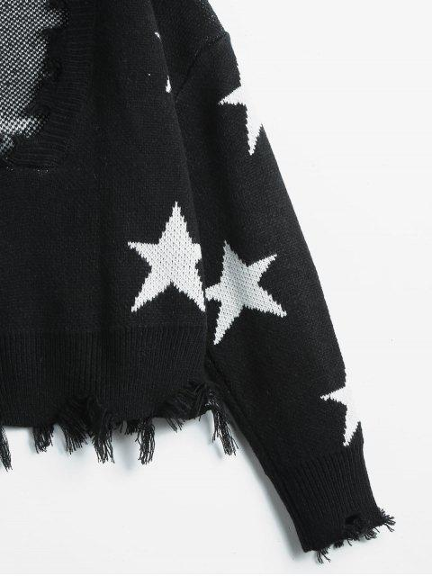 outfits ZAFUL Cropped Frayed Stars Sweater - BLACK ONE SIZE Mobile