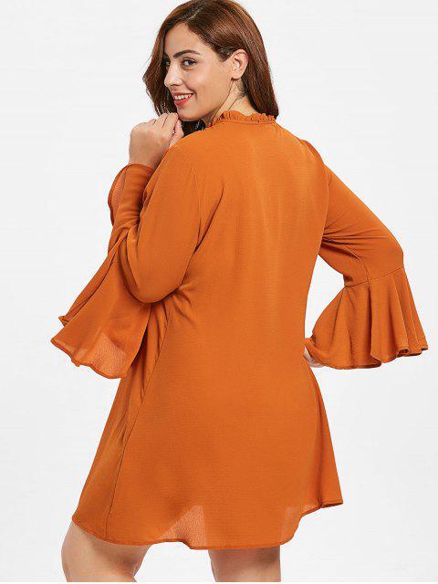 shops ZAFUL Plus Size Flare Sleeve Shift Dress - BRIGHT ORANGE 3X Mobile