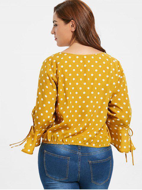 new ZAFUL Plus Size Polka Dot Bell Sleeve Blouse - ORANGE GOLD 3X Mobile