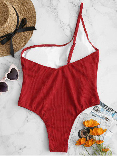 buy ZAFUL Ribbed One Shoulder Backless Swimsuit - FIRE ENGINE RED L Mobile