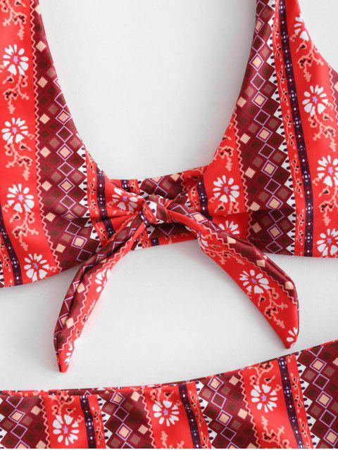 womens ZAFUL Printed Knot High Leg Bikini Set - MULTI S Mobile