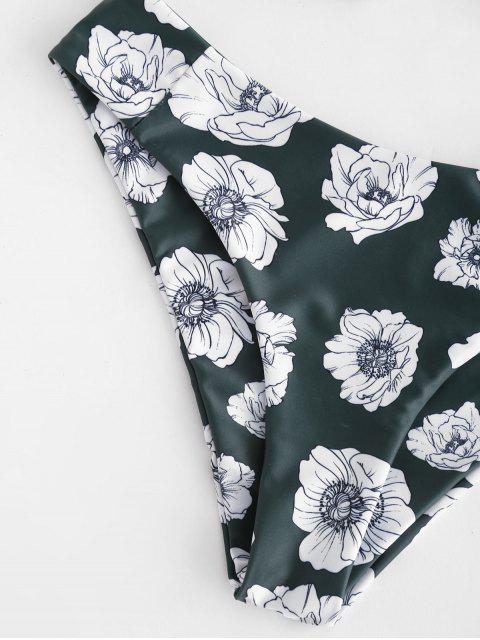 trendy ZAFUL Florals Bandeau Bikini Set - DARK FOREST GREEN M Mobile