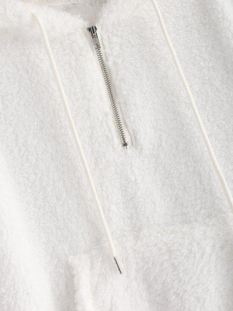 buy Half Zip Kangaroo Pocket Fluffy Hoodie - WHITE M Mobile