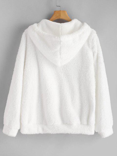 نصف البريدي الكنغر جيب منفوش قلنسوة - أبيض M Mobile
