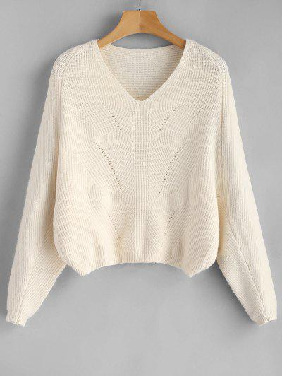 V Neck Batwing Sleeve Crop Sweater - Apricot