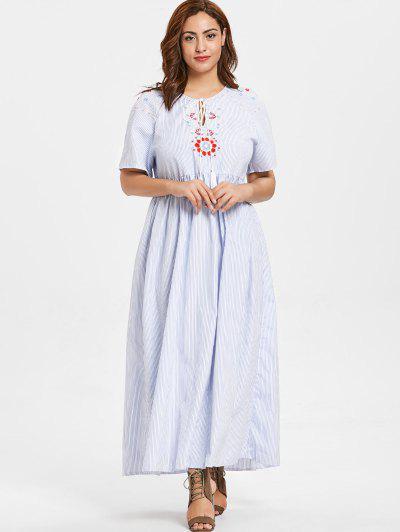 7a199c1e792 ... ZAFUL Plus Size Floral Embroidered Striped Maxi Dress - Light Blue 1x