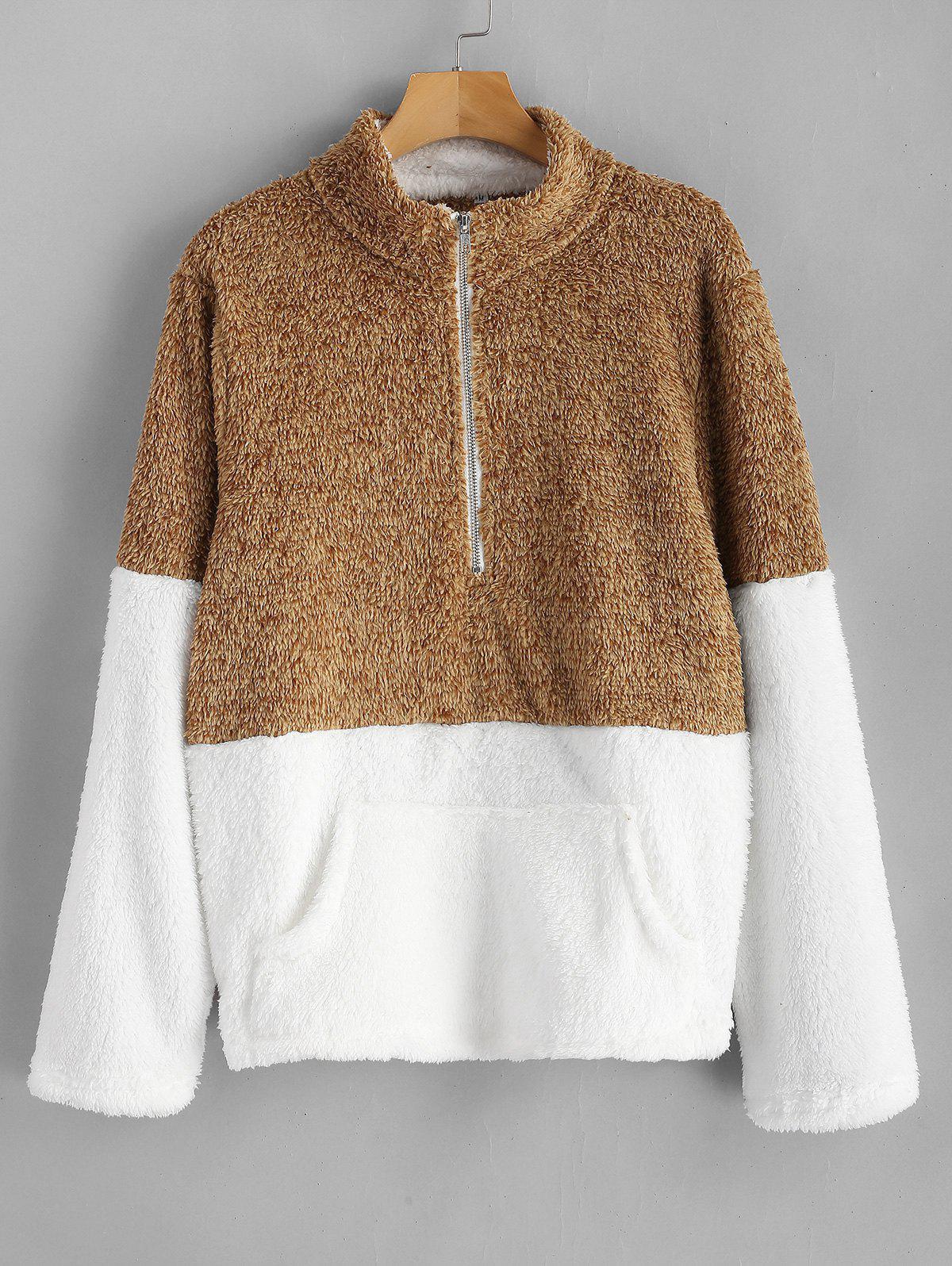 Kangaroo Pocket Contrast Fluffy Sweatshirt