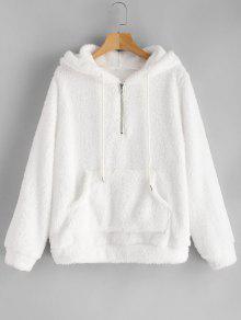 نصف الرمز البريدي الكنغر جيب هوديي منفوش - أبيض S